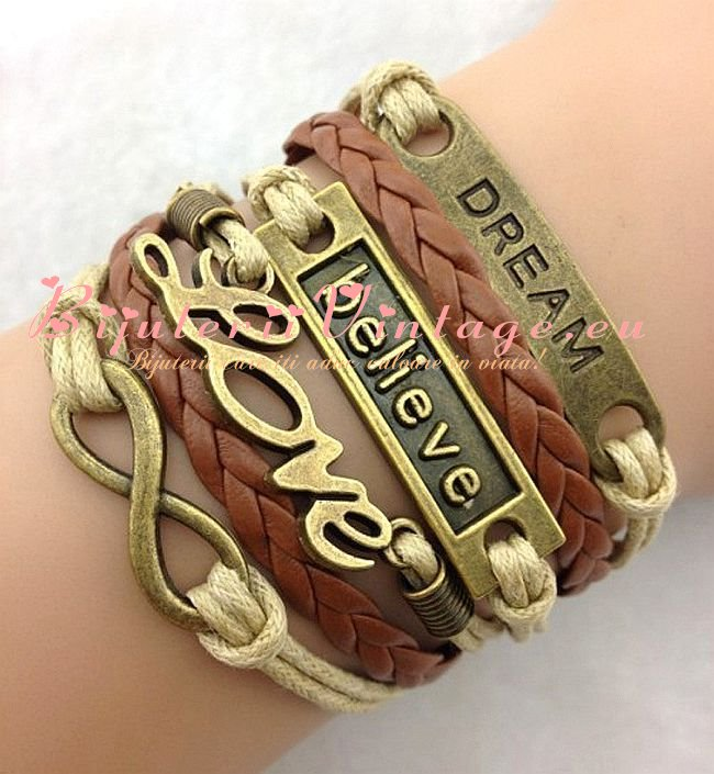 Bratara Vintage Dream-Believe-Love-Infinit BV001