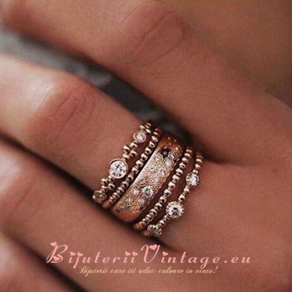 Set 5 Inele Rose Crystal